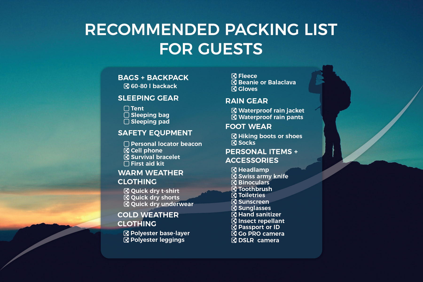AHB packing list hiking